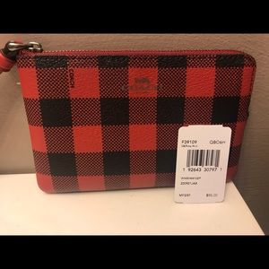 NWT Coach Plaid Corner Zip Wristlet